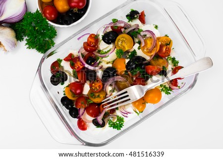 Hot Vegetable Salad with Olives and Feta Studio Photo