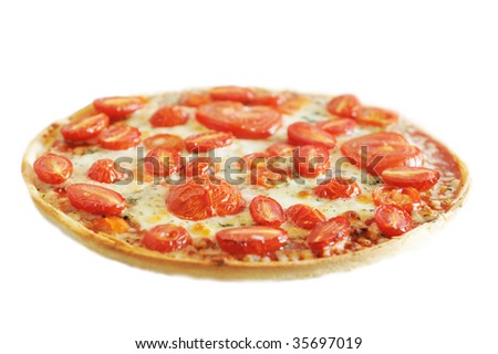 Hot vegetarian pizza with cheese and fresh tomatoes - stock photo