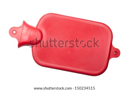 Hot water bottle or bag on white background
