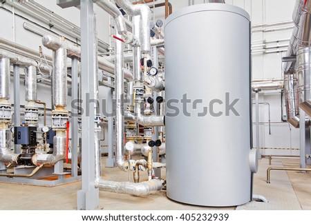 Hot water industrial boiler - stock photo
