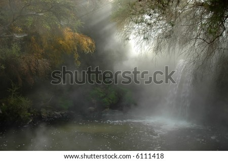 Hot waterfall surrounded by native forest (bush). Hot river near Rotorua, New Zealand. - stock photo
