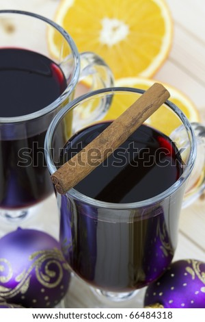 hot wine and cinnamon stick