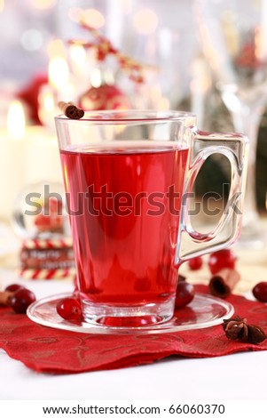 Hot wine cranberry punch for winter and Christmas - stock photo