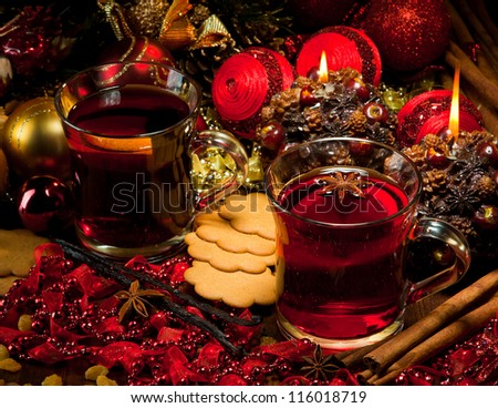 Hot wine for winter and Christmas with delicious cookies and spices