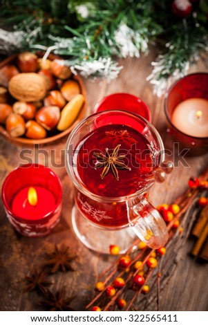 Hot wine punch with ingredients for winter and Christmas  - stock photo