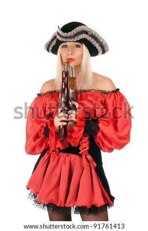 Hot young blonde with guns dressed as pirates - stock photo