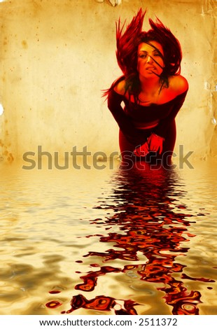 Hot Young Brunette Woman Waving Her Hair over the water. Digital Composite. - stock photo