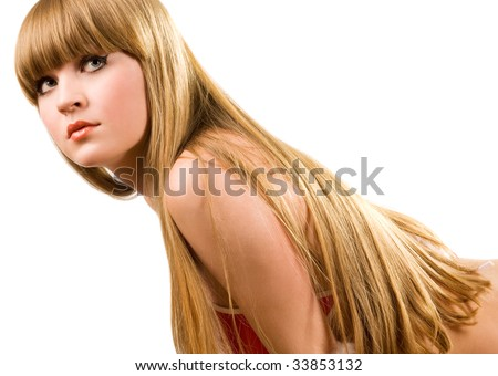 Hot young girl with lovely long hair - stock photo