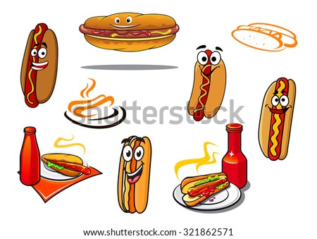 Hotdog cartoon characters and symbols set for fast food, nutrition and logo design - stock photo