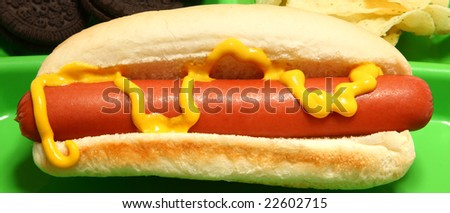 Hotdog, chips, cookies on childs tray. - stock photo