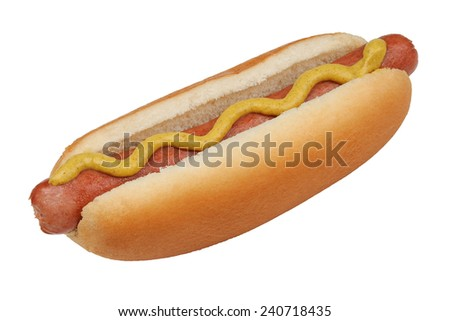 Hotdog in a bun with yellow mustard isolated over white with a clipping path - stock photo