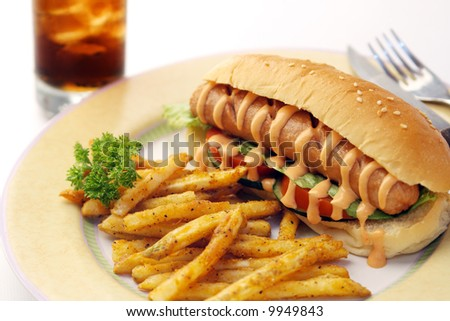 Hotdog meal with french fries and soda - stock photo