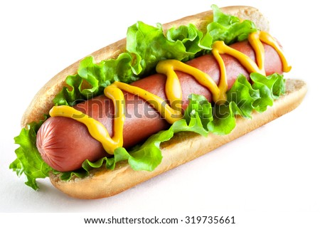 Hotdog with big sausage and fresh salad isolated on white - stock photo