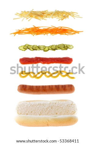 hotdog with different ingredients isolated - stock photo