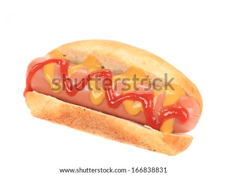 Hotdog with ketchup and mustard. Isolated on a white background.