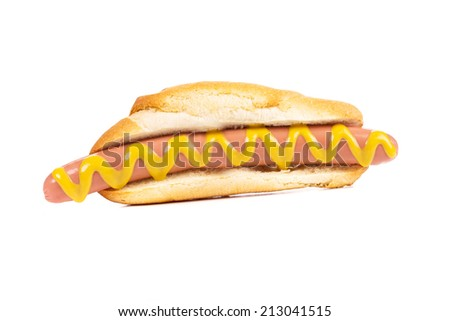 Hotdog with mustard Isolated on a white background.