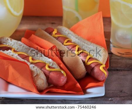 Hotdogs and lemonade - stock photo