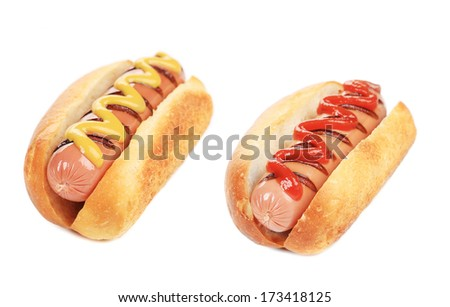 Hotdogs with mustard and ketchup. Isolated on a white background. - stock photo