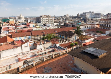 Hotel Ambos Mundos - view from the rooftop terrace - stock photo