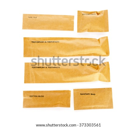 Hotel amenities kit on white background