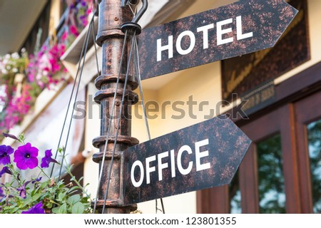 hotel and office signage - stock photo