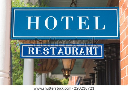 Hotel and restaurant sign - stock photo