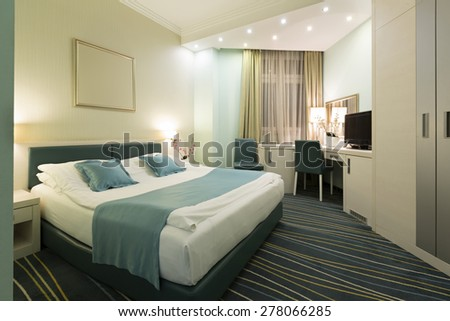 Hotel apartment in the evening - stock photo