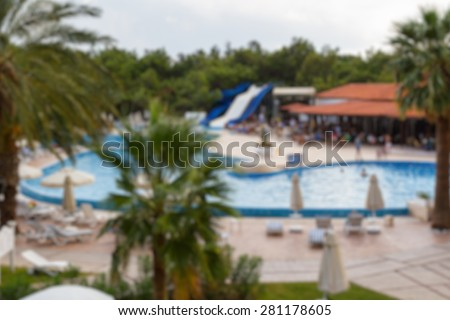 hotel area buildings with swiming pool abstract blur background