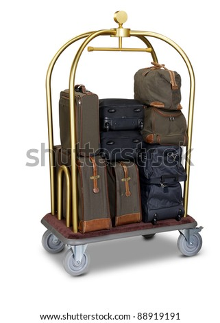 hotel baggage cart isolated on white background