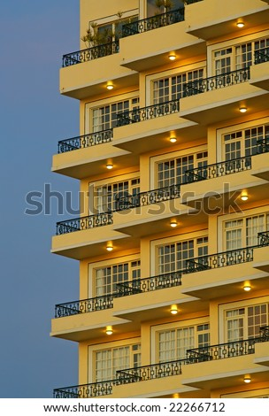 Hotel Balconies - stock photo