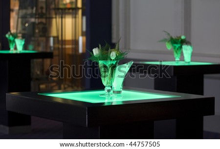 Hotel ballroom setup for a fancy reception. - stock photo