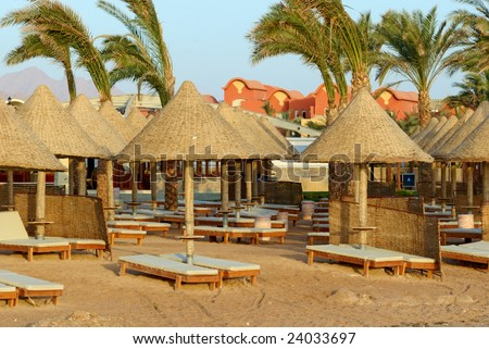Hotel beach at the Red Sea, Sharm El Sheikh,Egypt.