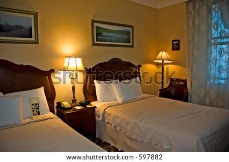 Hotel bedroom, stylish - stock photo