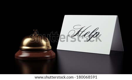 Hotel Bell Sign isolated on black background