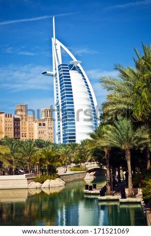 Hotel Burj al Arab in Dubai, Emirates, UAE. It is a hotel located in Dubai, United Arab Emirates - stock photo