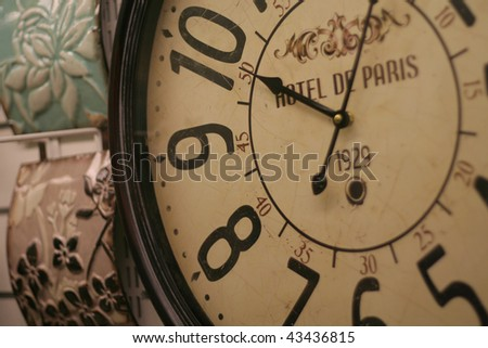 Hotel clock shot at close up. wall clock - stock photo