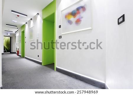 Hotel corridor - stock photo