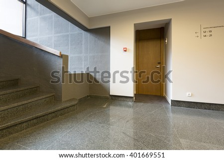 Hotel corridor with stairs