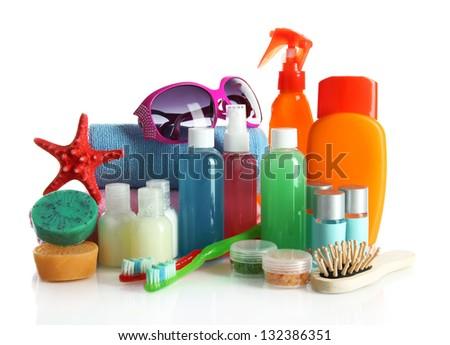 Hotel cosmetics kit isolated on white - stock photo