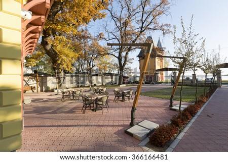 Hotel courtyard - stock photo
