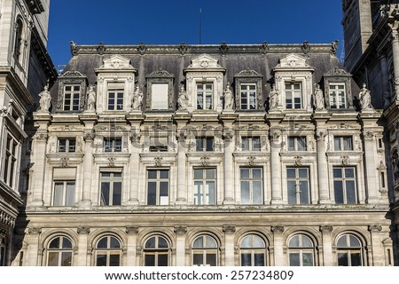 Hotel-de-Ville (City Hall) in Paris - building housing the City of Paris's administration. Building was constructed between 1874 and 1882 by architects Theodore Ballou and Edouard Deperta. France. - stock photo