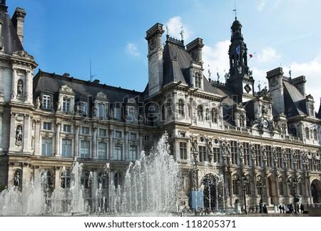 Hotel de ville - the city hall of Paris, France - stock photo