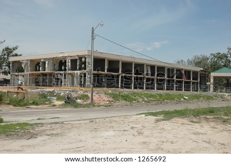 Hotel destroyed in Biloxi Mississippi by hurricane Katrina - stock photo