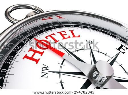 hotel direction indicated by concept compass isolated on white background