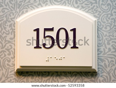 hotel door number, close up image