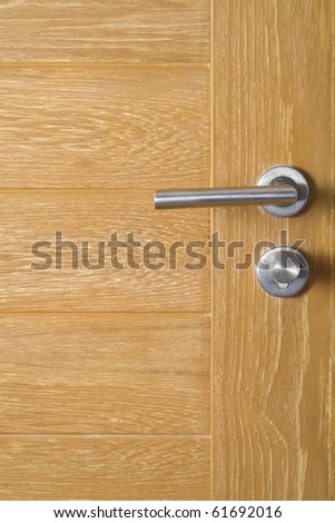 Hotel door with modern knob for background