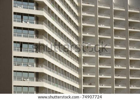 Hotel facade on Dead Sea in Israel. - stock photo