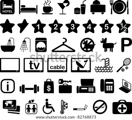 Hotel features and services icon set black and white illustration - stock photo