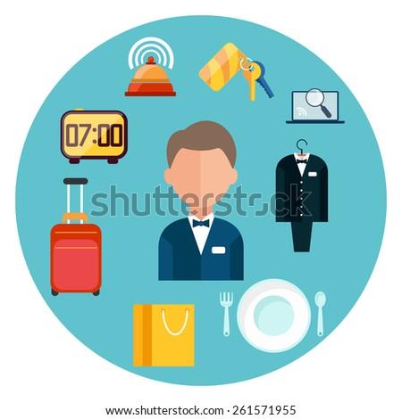 Hotel icons set. Man around hotel item icons in flat design. Raster version - stock photo