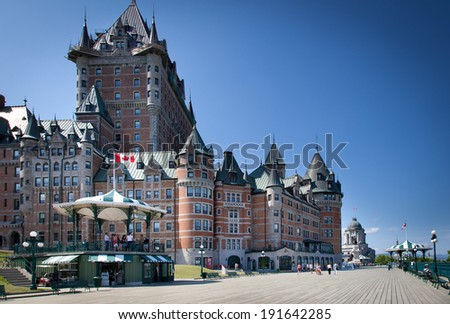 Hotel in a city, Chateau Frontenac Hotel, Quebec City, Quebec, Canada - stock photo